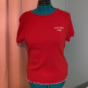 Forever 21 Scalloped Red Graphic Tee
